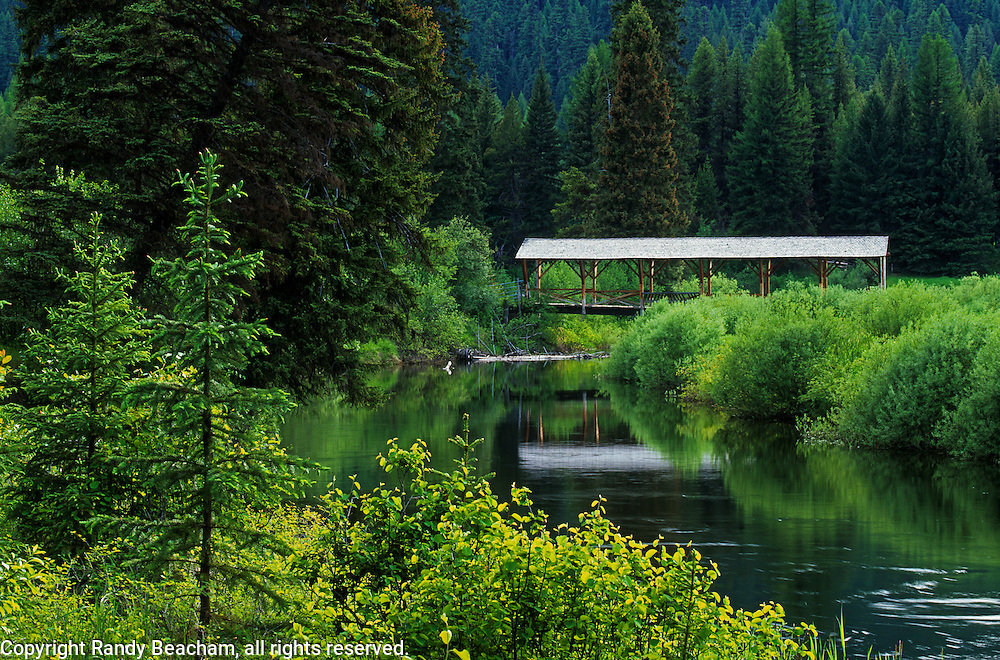 Covered bridge over the Yaak River. Yaak Valley in the Purcell Mountains, northwest Montana.