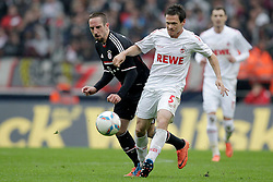 05.05.2012, Rhein Energie Stadion, Koeln, GER, 1. FC Koeln vs FC Bayern Muenchen, 34. Spieltag, im Bild Sascha RIETHER (1.FC Koeln #5) - Franck RIBERY (FC Bayern Muenchen - 7) // during the German Bundesliga Match, 34th Round between 1. FC Cologne and Bayern Munich at the Rhein Energie Stadium, Cologne, Germany on 2012/05/05. EXPA Pictures © 2012, PhotoCredit: EXPA/ Eibner/ Gerry Schmit..***** ATTENTION - OUT OF GER *****