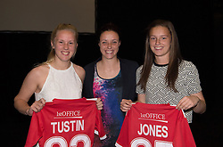 Lauren Smith presents shirts to Emma Tustin and Katie Jones who debuted for Bristol Academy this season - Photo mandatory by-line: Paul Knight/JMP - Mobile: 07966 386802 - 11/10/2015 - Sport - Football - Bristol - Stoke Gifford Stadium - Bristol Academy WFC End of Season Awards 2015