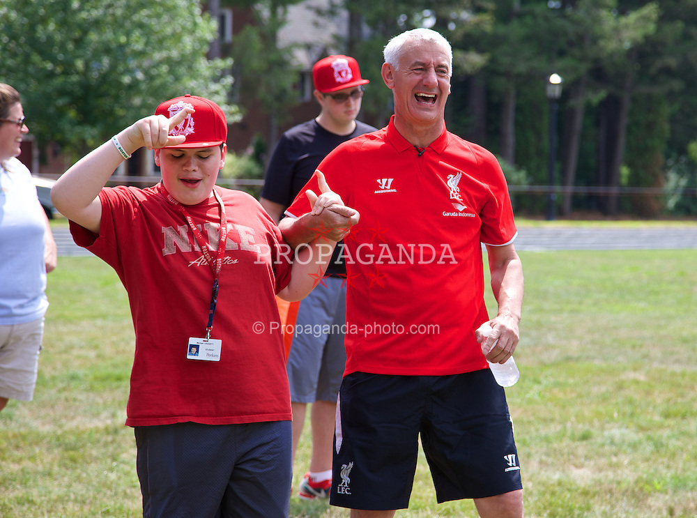 BOSTON, USA - Tuesday, July 22, 2014: Liverpool's Ian Rush visits the Perkins School for the Blind on two one of the club's USA Tour. (Pic by David Rawcliffe/Propaganda)