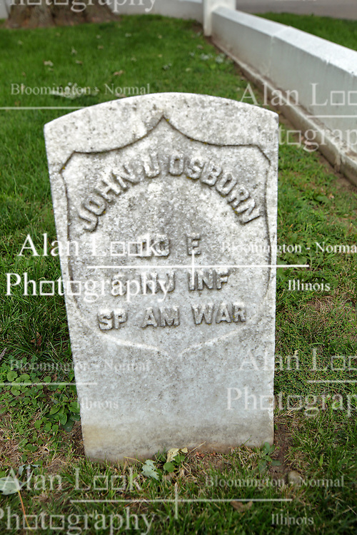 26 August 2017:   A part of the History of McLean County Illinois.<br /> <br /> Tombstones in Evergreen Memorial Cemetery.  Civic leaders, soldiers, and other prominent people are featured. Section 5, the old town soldiers area<br /> John J Osborn  Co E  3 NJ INF  Spanish American War