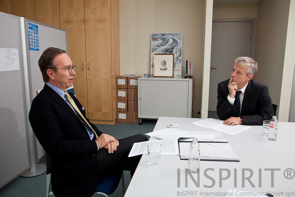 From left , Matthias Wissmann, President of the Verband der Automobilindustrie (VDA) and Thomas Ludwig, EU-Correspondent for Handelsblatt, during an interview in Brussels 23 June 2011. PHOTO: ERIK LUNTANG / INSPIRIT Photo.