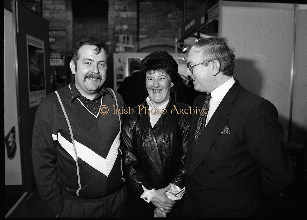 The 1989 Boat Show.   (R89)..1989..10.03.1989..03.10.1989..10th March 1989..Pat the Cope GallagherTD, Minister for the Marine attended the opening of the 1989 Boat Show held at the Point Depot, Dublin. The opening coincided with the minister's birthday...The Minister for the Marine, Pat The Cope Gallagher ,is pictured, with visitors to the Boat Show.