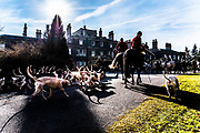 Bowhill, Selkirk, Scottish Borders, UK. 24th February 2018. The Duke of Buccleuch Foxhounds meet at the residence of the 10th Duke and Duchess.