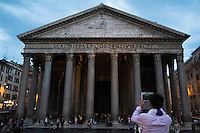 Tourist Photographing The Pantheon With iPad Tablet, Rome, Italy