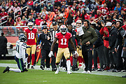San Francisco 49ers wide receiver Marquise Goodwin (11) celebrates a reception against the Seattle Seahawks at Levi's Stadium in Santa Clara, Calif., on November 26, 2017. (Stan Olszewski/Special to S.F. Examiner)
