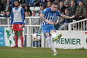 Nathan Thomas (Hartlepool United) crosses the ball into the box during the EFL Sky Bet League 2 match between Hartlepool United and Carlisle United at Victoria Park, Hartlepool, England on 14 April 2017. Photo by Mark P Doherty.