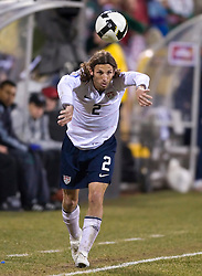 United States defender Frankie Hejduk (2) on a throw-in against Mexico.  The United States men's soccer team defeated the Mexican national team 2-0 in CONCACAF final group qualifying for the 2010 World Cup at Columbus Crew Stadium in Columbus, Ohio on February 11, 2009.