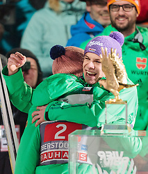 29.12.2015, Schattenbergschanze, Oberstdorf, GER, FIS Weltcup Ski Sprung, Vierschanzentournee, Bewerb, im Bild jubel bei Sieger Severin Freund (GER) und Andreas Wellinger (GER) // Winner Severin Freund of Germany celebrates with Andreas Wellinger of Germany in front of the overall trophy for the 4 Hills Tournament after his 2nd Competition Jump of Four Hills Tournament of FIS Ski Jumping World Cup at the Schattenbergschanze, Oberstdorf, Germany on 2015/12/29. EXPA Pictures © 2016, PhotoCredit: EXPA/ JFK