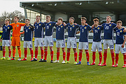 The Scotland team line up for their national anthem ahead of the U17 European Championships match between Scotland and Russia at Simple Digital Arena, Paisley, Scotland on 23 March 2019.