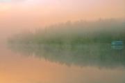 Fog at sunrise at Peniac Bay. West Hawk Lake<br />Whiteshell Provincial Park<br />Manitoba<br />Canada