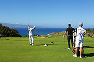 January 07 2016:  Rickie Fowler hits his tee shot on number eleven during the First Round of the Hyundai Tournament of Champions at Kapalua Plantation Course on Maui, HI. (Photo by Aric Becker)