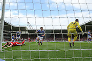 Middlesbrough forward Jordan Rhodes (9)  misses the cross during the Sky Bet Championship match between Middlesbrough and Ipswich Town at the Riverside Stadium, Middlesbrough, England on 23 April 2016. Photo by Simon Davies.