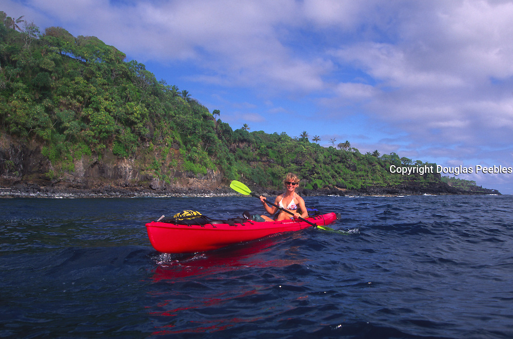 woman, kayak, Hana Coast, Maui, Hawaii<br />