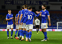 Football - 2020 / 2021 EFL Cup - Round Two - Brighton & Hove Albion vs Portsmouth<br /> <br /> Brighton & Hove Albion's Davy Propper congratulates Alexis Mac Allister after his opening goal, at the Amex Stadium.<br /> <br /> COLORSPORT/ASHLEY WESTERN