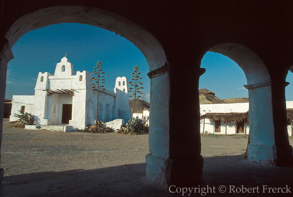 SPAIN, ANDALUSIA 'Mini Hollywood' movie set for westerns; replica of Mexican town, near Tabernas, north of Almeria