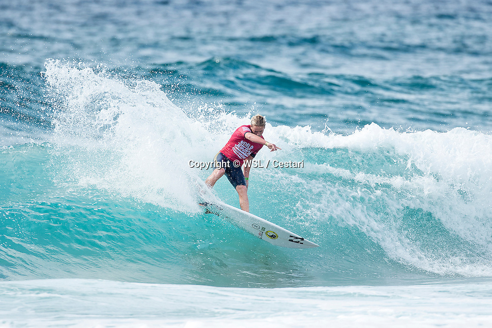Finn McGill of Hawaii placed second in Heat 4 of Round 1 at the World Junior Championship.
