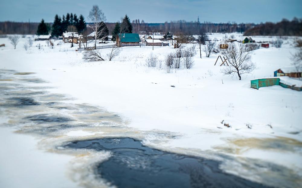 Snowed landscape in a Rural area in Russia
