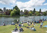 Maidenhead. Berkshire. United Kingdom. General view Spectators watch the racing from the riverside. 2017 Maidenhead Junior Regatta  River Thames. <br /> Sunday  14/05/2017<br /> <br /> [Mandatory Credit Peter SPURRIER/Intersport Images] Sunday. 14.05.2017