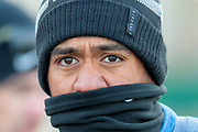 Ryder Cup player, Tony Finau, feels the cold during the Alfred Dunhill Links Championships 2018 at St Andrews, West Sands, Scotland on 6 October 2018.