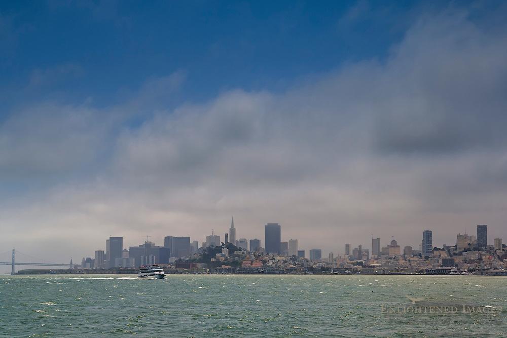 Fog over San Francisco, from San Francisco Bay, California