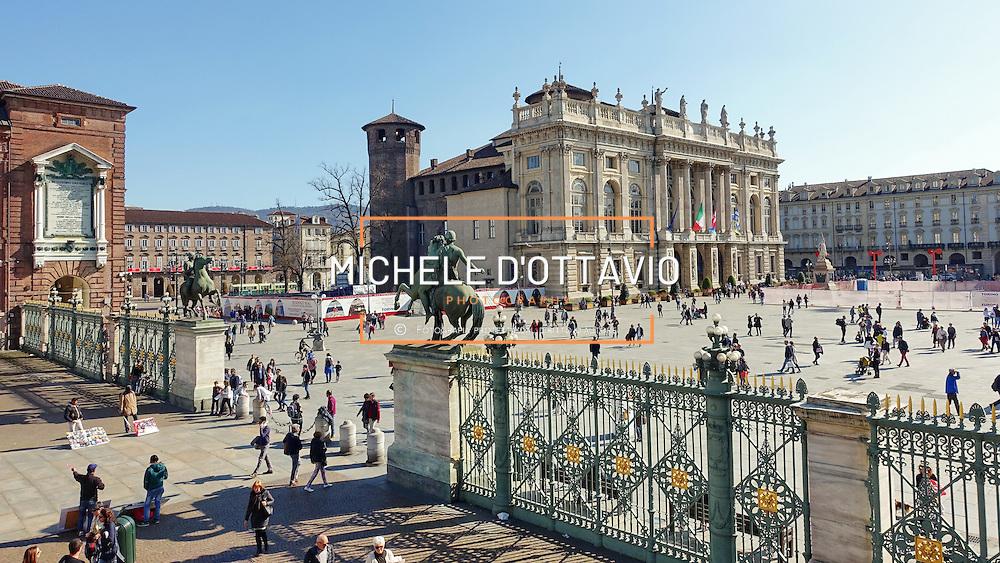 Torino, marzo 2016: Piazza Castello Palazzo Madama