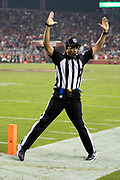An NFL official signals touchdown as New York Giants wide receiver Sterling Shepard (87) catches the winning touchdown, a 3 yard pass reception that gives the Giants a 27-23 late fourth quarter lead during the NFL week 10 regular season football game against the San Francisco 49ers on Monday, Nov. 12, 2018 in Santa Clara, Calif. The Giants won the game 27-23. (©Paul Anthony Spinelli)