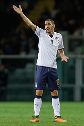 October 6, 2017 - Turin, Italy - Leonardo Bonucci of Italy national team reacts during the 2018 FIFA World Cup Russia qualifier Group G football match between Italy and FYR Macedonia at Stadio Olimpico on October 6, 2017 in Turin, Italy. (Credit Image: © Mike Kireev/NurPhoto via ZUMA Press)