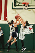 during the girls basketball game between the Burlington Sea Horses and the Rice Green knights at Rice Memorial high school on Thursday night February 18, 2016 in South Burlington. (BRIAN JENKINS/for the FREE PRESS)