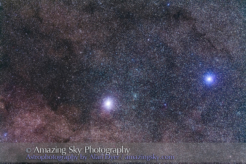 Alpha Centauri, the closest star system to the Sun (at left and aka Rigel Kentaurus) and Beta Centauri (at right, aka Hadar) in Centaurus, and together known as the Pointer Stars. The open cluster NGC 5617 is to the right of Alpha. The field simulates a binocular field of view. <br /> <br /> This is a stack of 4 x 2-minute exposures with the 200mm lens at f/2.8 and filter-modified Canon 5D MkII at ISO 2500. Tracked on the AP 400 mount.