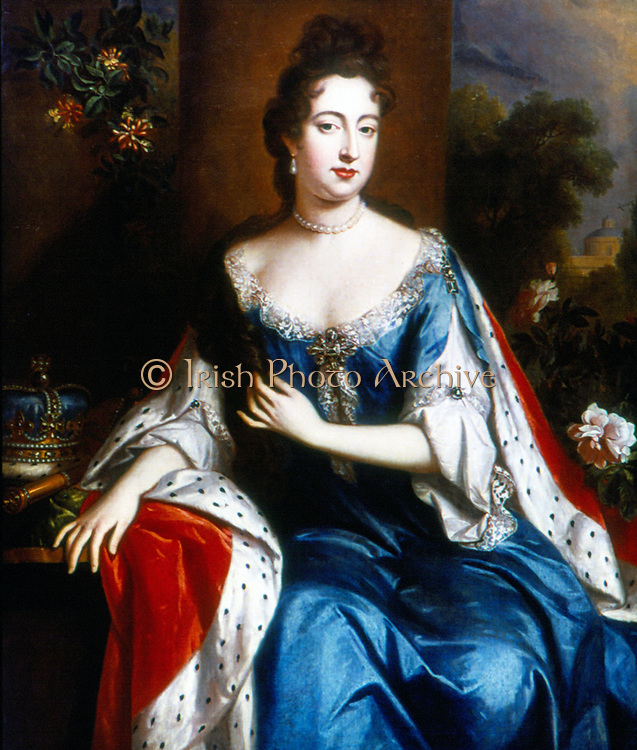 Anne (1665-1714), younger daughter of James II, queen of Great Britain and Ireland from 1702. Portrait c1690 attributed to Godfrey Kneller.