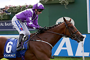 COOLAGH FOREST (6) ridden by Paul Hanagan and trained by Richard Fahey winning The Smart Moneys On Coral Stakes over 1m 2f (£30,000)  during the York Coral Sprint Trophy meeting at York Racecourse, York, United Kingdom on 12 October 2019.