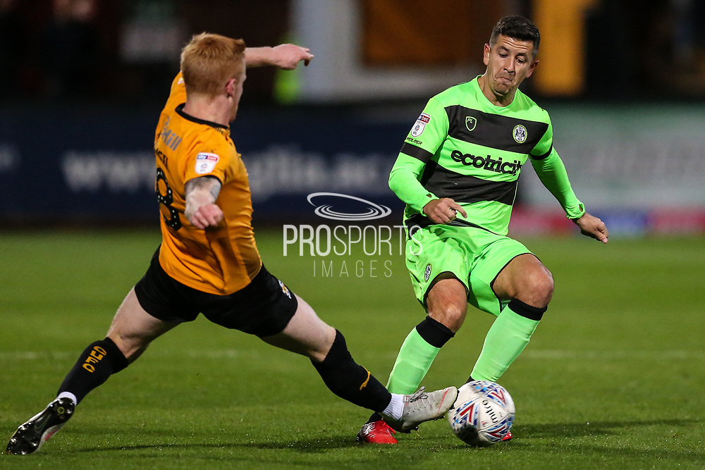 Forest Green Rovers Lloyd James(4) is tackled by Cambridge United's Liam O'Neil(8) during the EFL Sky Bet League 2 match between Cambridge United and Forest Green Rovers at the Cambs Glass Stadium, Cambridge, England on 2 October 2018.