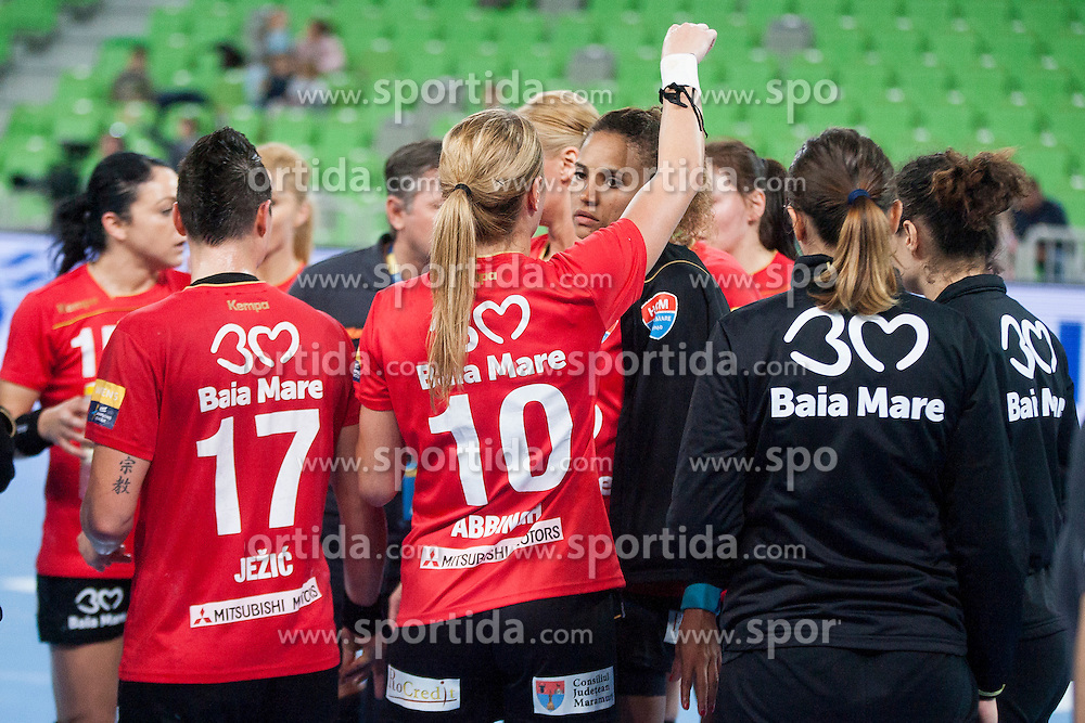 Players of HCM Baia Mare during handball match between RK Krim Mercator (SLO) and HCM Baia Mare (ROM) in 1st Round of Women's EHF Champions League 2015/16, on October 16, 2015 in Arena Stozice, Ljubljana, Slovenia. Photo by Urban Urbanc / Sportida