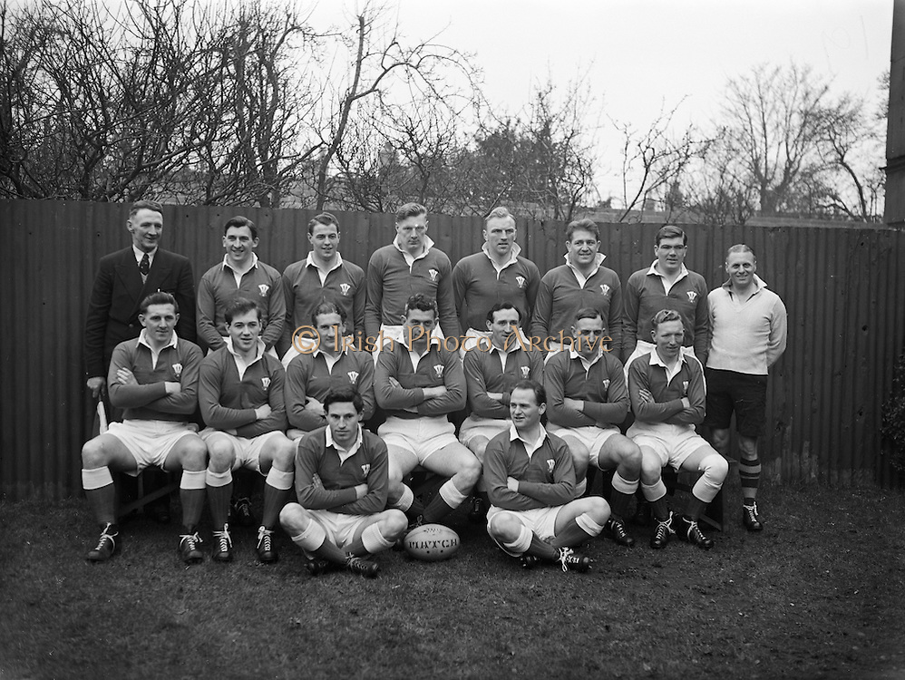 Irish Rugby Football Union, Ireland v Wales, Five Nations, Landsdowne Road,  Dublin, Ireland, Saturday 13th March, 1954,.13.3.1954, 3.13.1954,..Referee- A W C Austin, Scottish Rugby Union, ..Score- Ireland 9 - 12 Wales,..Welsh Team, ..V Evans, Wearing number 1 Welsh jersey, Full back, Neath Rugby Football Club, Neath, Wales,..Gareth Griffiths, Wearing number 5 Welsh jersey, Left wing, Cardiff Rugby Football Club, Cardiff, Wales,..Alun Thomas, Wearing number 4 Welsh jersey, Left centre, Cardiff Rugby Football Club, Cardiff, Wales,..Denzil Thomas, Wearing number 3 Welsh jersey, Right centre, Llanelly Rugby Football Club, Llanelly, Wales, ..K J Jones, Wearing number 2 Welsh jersey, Right Wing, Newport Rugby Football Club, Newport, Wales, ..Cliff Morgan, Wearing number 6 Welsh jersey, Stand Off, Cardiff Rugby Football Club, Cardiff, Wales,..W R Willis, Wearing number 7 Welsh jersey, Vice Captain of the Welsh team, Scrum Half, Cardiff Rugby Football Club, Cardiff, Wales,..W O Williams, Wearing number 8 Welsh jersey, Forward, Swansea Rugby Football Club, Swansea, Wales, ..B Meredith, Wearing number 9 Welsh jersey, Forward, St Luke's College,  Exeter, England,..C Meredith, Wearing number 10 Welsh jersey, Forward, Neath Rugby Football Club, Neath, Wales,..R H Williams, Wearing number 11 Welsh jersey, Forward, Llanelly Rugby Football Club, Llanelly, Wales, ..J R G Stephens, Wearing number 12 Welsh jersey, Captain of the Welsh team, Forward, Neath Rugby Football Club, Neath, Wales,..R C C Thomas, Wearing number 13 Welsh jersey, Forward, Swansea Rugby Football Club, Swansea, Wales, ..B Sparks, Wearing number 14 Welsh jersey, Forward, Neath Rugby Football Club, Neath, Wales,..L Jenkins, Wearing number 15 Welsh jersey, Forward, Newport Rugby Football Club, Newport, Wales,.