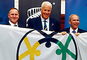 (L to R) Prime Minister John Key,  President of World Masters Games, Kai Holm, Mayor of Auckland Len Brown, Press conference to announce Auckland, New Zealand as the host city for the 2017 World Masters Games. Auckland Town Hall Councillors Chambers, Auckland. 15 March 2012. Photo: William Booth/photosport.co.nz