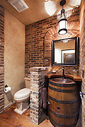 Wine Barrel Bathroom Vanity Interior Stock Photo