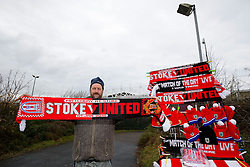 Half and half scarves on sale outside the stadium - Photo mandatory by-line: Rogan Thomson/JMP - 07966 386802 - 01/01/2015 - SPORT - FOOTBALL - Stoke-on-Trent, England - Britannia Stadium - Stoke City v Manchester United - New Year's Day Football - Barclays Premier League.