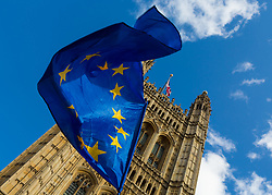 An Eu flag catches the breeze as Parliament debates a move by MPs to get an extension to Article 50 rather than allowing the Government to leave the EU without a deal on October 31st. London, September 04 2019.