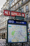 Metropolitain sign and map on Rue du Bac, Paris, France