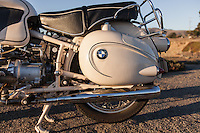 Rear wheel and compartment detail photo of a 1960s BMW R60US motorcycle (PR).
