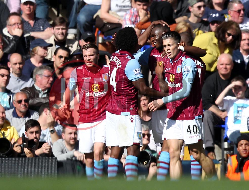Aston Villa celebrates his goal - Photo mandatory by-line: Robbie Stephenson/JMP - Mobile: 07966 386802 - 11/04/2015 - SPORT - Football - London - White Hart Lane - Tottenham Hotspur v Aston Villa - Barclays Premier League