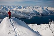 Skier - Randolph Rhea. Location - Holmbukttinden, Lyngen Peninsula Norway