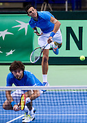 (R) Mate Pavic &amp; (L) Marin Draganja both of Croatia compete in double match during the BNP Paribas Davis Cup 2014 between Poland and Croatia at Torwar Hall in Warsaw on April 5, 2014.<br /> <br /> Poland, Warsaw, April 5, 2014<br /> <br /> Picture also available in RAW (NEF) or TIFF format on special request.<br /> <br /> For editorial use only. Any commercial or promotional use requires permission.<br /> <br /> Mandatory credit:<br /> Photo by &copy; Adam Nurkiewicz / Mediasport