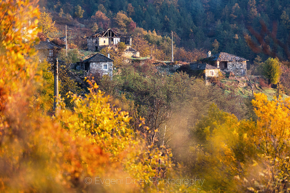 Small rhodopean village with stone houses