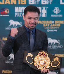 November 20, 2018 - Beverly Hills, California, U.S - Manny Pacquiao poses with his Welterweight Belt during a news conference, Tuesday, November 20, 2018, in Beverly Hills, California. Pacquiao will defend his World Boxing Association welterweight title against Broner on January 19, 2019, in Las Vegas. (Credit Image: © Prensa Internacional via ZUMA Wire)