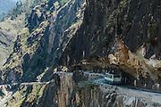 An HRTC Bus travelling across  Tranda Dhank, Kinnaur, Himachal Pradesh