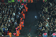 West Ham fans taunt the Spurs fans after their second goal. EFL Carabao Cup, 4th round match, Tottenham Hotspur v West Ham United at Wembley Stadium in London on Wednesday 25th October 2017.<br /> pic by Steffan Bowen, Andrew Orchard sports photography.