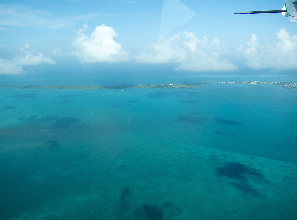 San Pedro, Belize 8/31/2012.Tropic Air above the Caribbean on the way to Ambergris Caye..Alex Jones / www.alexjonesphoto.com