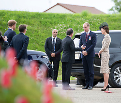 SOMME - FRANCE- 1st July 2016: The 100th anniversary of the Battle of The Somme in northern France.<br /> <br /> Members of the Royal Family including HRH The Prince of Wales and the Duchess of Cornwall with The Duke and Duchess of Cambridge, and Prince Harry attend a Memorial service held at the Thiepval Somme Memorial to mark the 100th Anniversary of the Battle of the Somme which started on the 1st July 1916.<br /> <br /> Prince William, Kate and Prince Harry were met on arrival at the visitor centre by President Hollande of France.<br /> Photo by Ian Jones